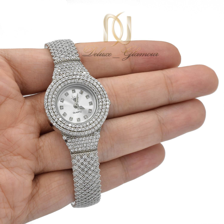 ساعت نقره زنانه جواهری مجلسی wh-n155 از نمای روی دست
