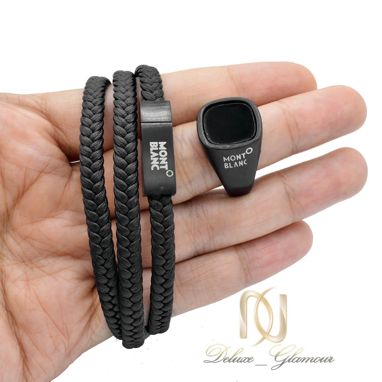 ست انگشتر و دستبند مونت بلانک مشکی ns-n452