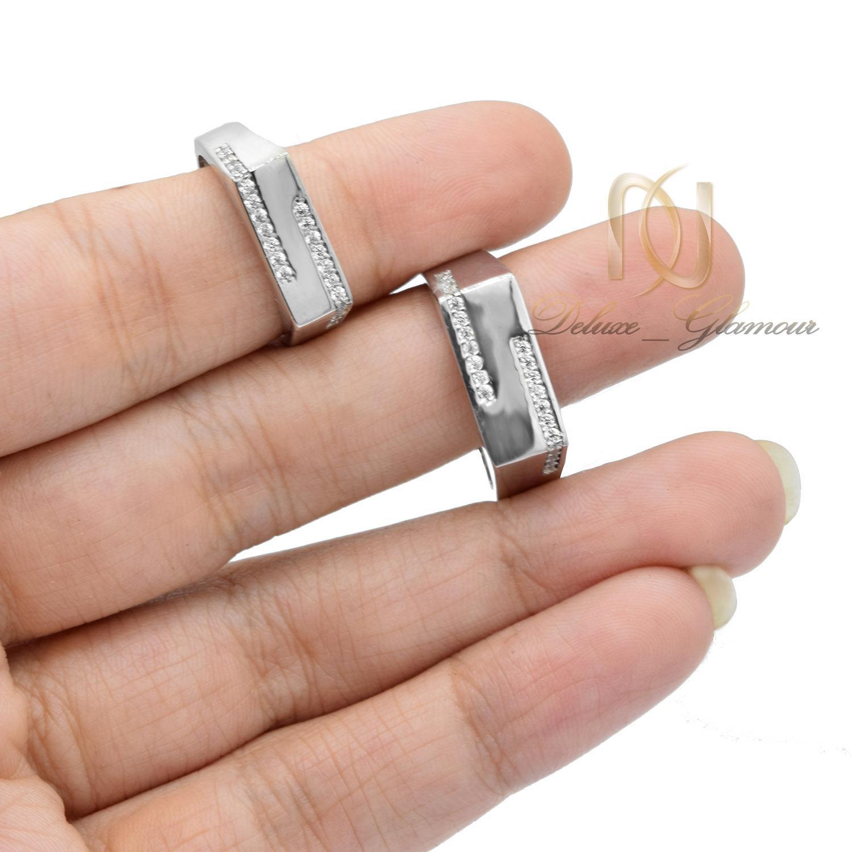 ست حلقه نامزدی نقره آینه ای Rg-n348 - عکس روی دست