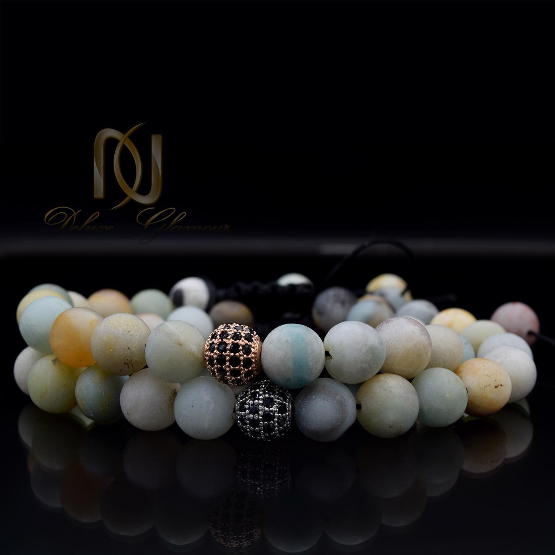 ست دستبند دخترانه و پسرانه سنگ عقیق ds-n481 از نمای مشکی