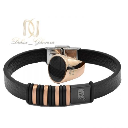 ست دستبند و انگشتر مونت بلانک مردانه ns-n451 از نمای سفید