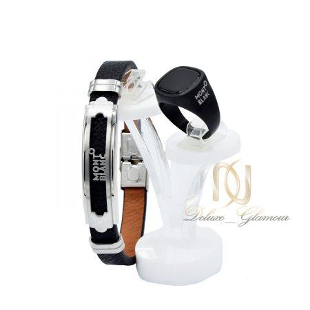 ست دستبند و انگشتر مونت بلانک مردانه ns-n491 از نمای روبرو