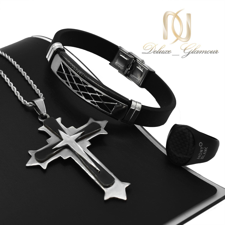 ست دستبند و انگشتر و گردنبند مردانه ns-n498 از نمای مشکی