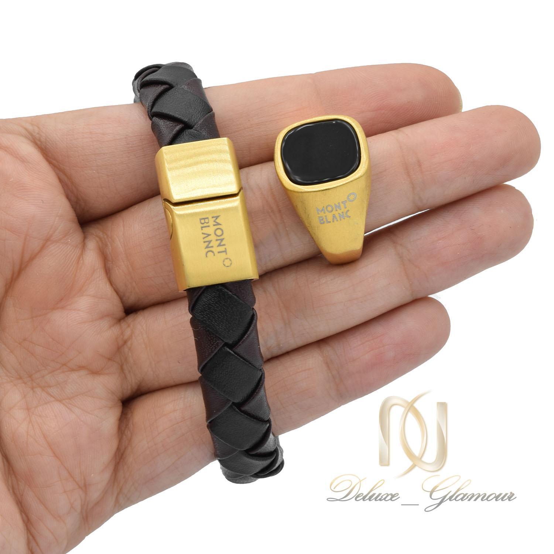 ست دستبند و انگشتر montblanc مردانه ns-n490 از نمای روی دست
