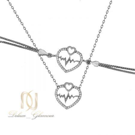 ست دستبند و گردنبند نقره ضربان قلب ns-n494 از نمای سفید
