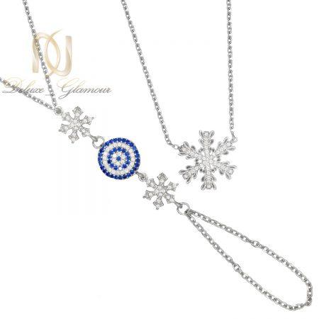ست دستبند و گردنبند نقره طرح برف ns-n487 از نمای سفید