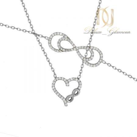 ست دستبند و گردنبند نقره طرح بی نهایت ns-n499 از نمای سفید