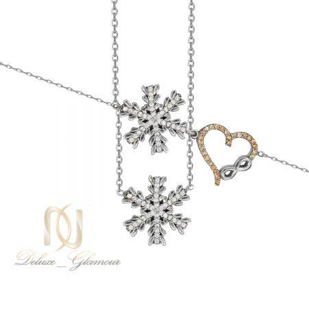 ست گردنبند و دستبند نقره دخترانه برف ns-n493 از نمای سفید