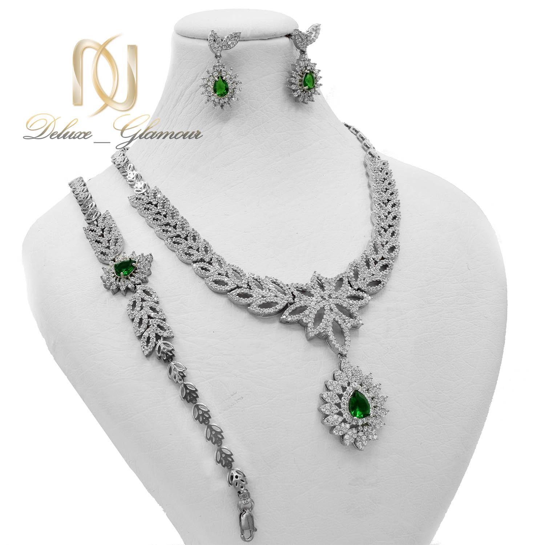 سرویس نقره زنانه سلطنتی نگین سبز ns-n486 از نمای روبرو