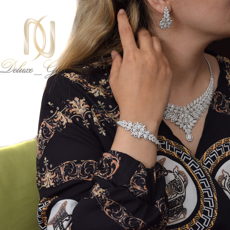 سرویس نقره زنانه پرنگین طرح طلا ns-n483 از نمای دور
