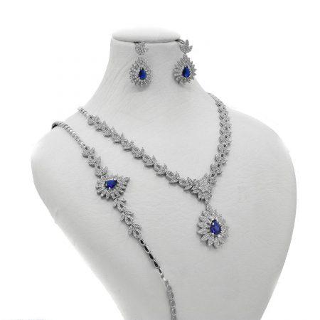 سرویس نقره طرح سلطنتی نگین آبی و سفید NS-N485 از نمای روبرو
