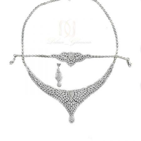 سرویس نقره عروس طرح طلا سفید نگین دار NS-N484 از نمای سفید