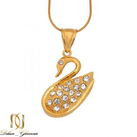 گردنبند استیل زنانه قو طرح طلا نگین دار nw-n510 از نمای سفید