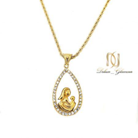 گردنبند استیل طرح مادر برند JH طلایی nw-n012 از نمای جدید