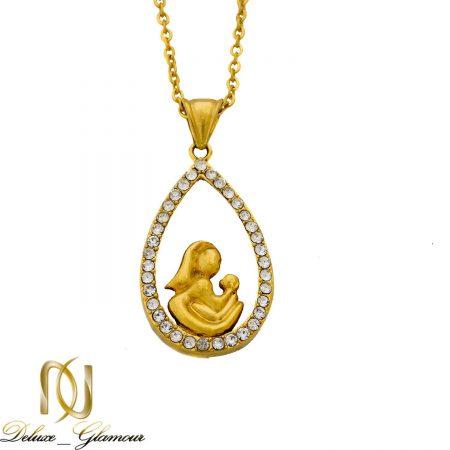 گردنبند استیل طرح مادر برند JH طلایی nw-n012