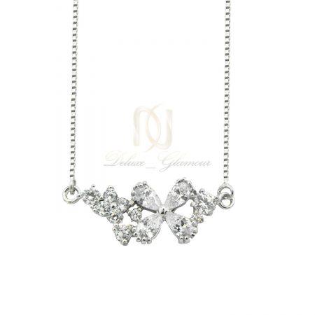 گردنبند دخترانه نقره طرح گل نگین سفید nw-n518