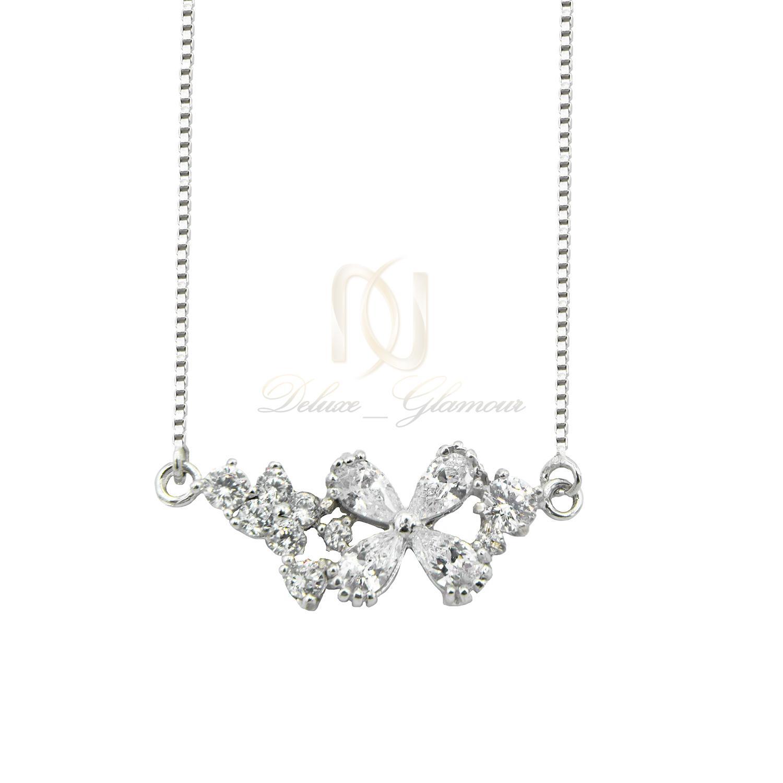 گردنبند دخترانه نقره طرح گل نگین سفید nw-n518 از نمای سفید