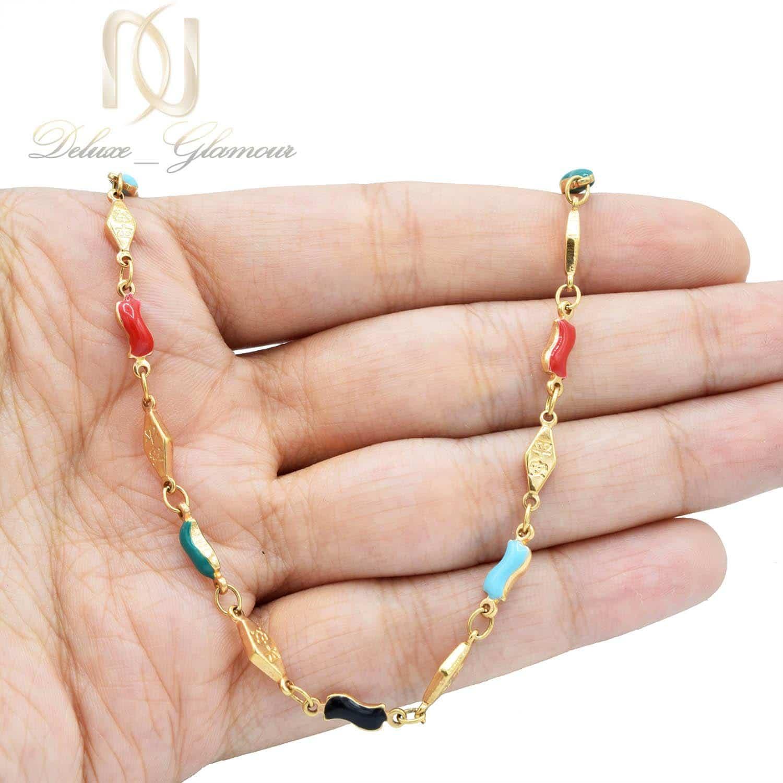 گردنبند دخترانه ژوپینگ فانتزی نگین لاکی nw-n519 از نمای روی دست