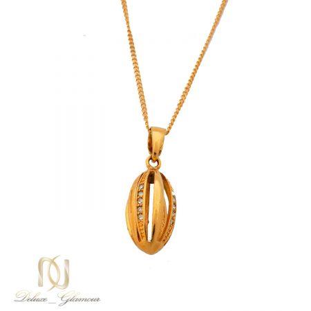 گردنبند زنانه استیل طرح طلای نگین دار NW-N512 از نمای سفید