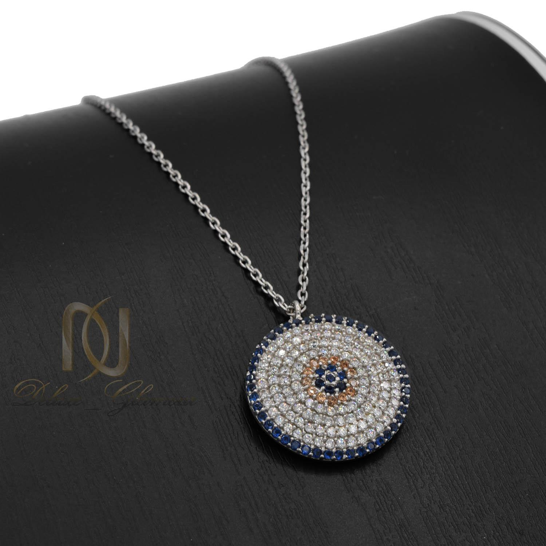 گردنبند زنانه نقره دایره ای پر نگین جواهری nw-n513