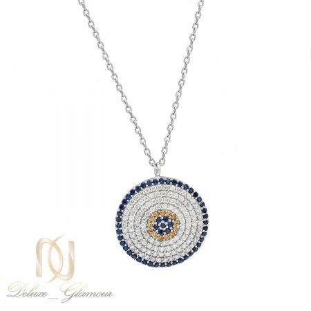 گردنبند زنانه نقره دایره ای پر نگین جواهری nw-n513 از نمای سفید