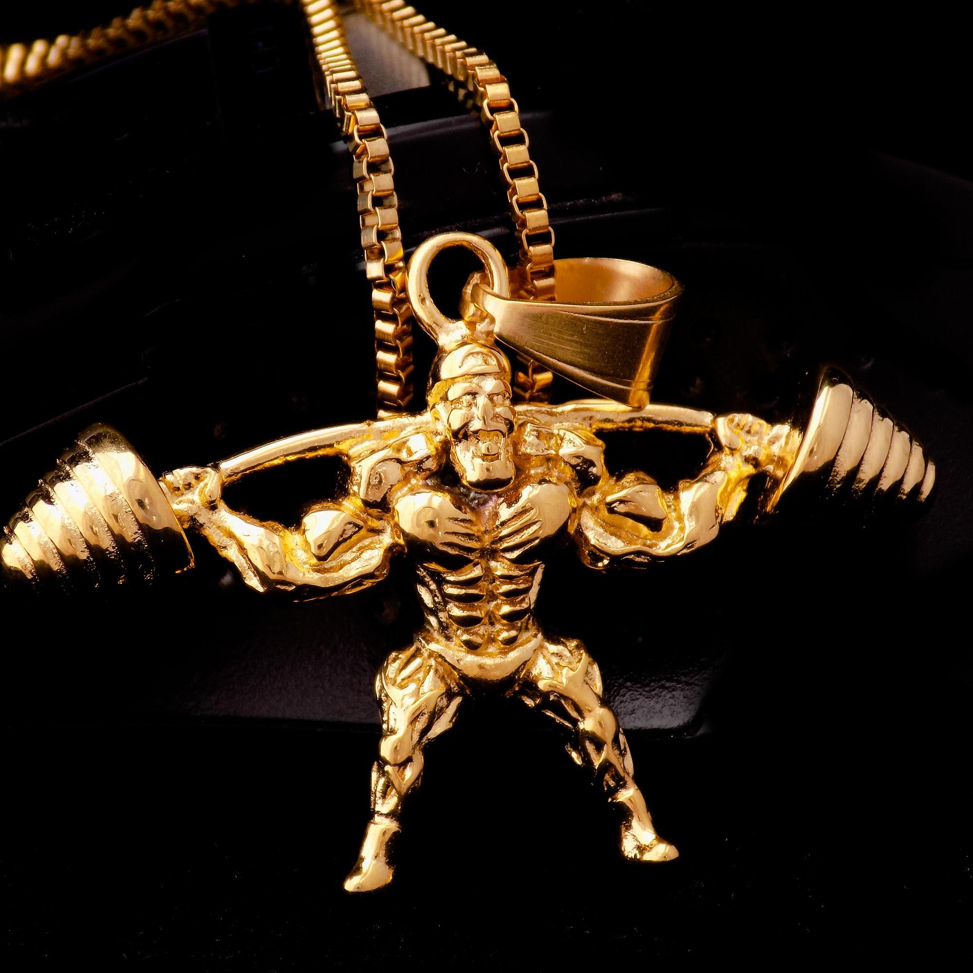 گردنبند مردانه طرح بدنسازی استیل طلایی nw-n499 از نمای مشکی