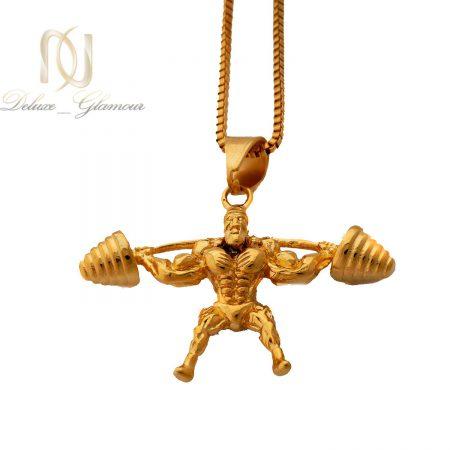 گردنبند مردانه طرح بدنسازی استیل طلایی nw-n499 از نمای سفید