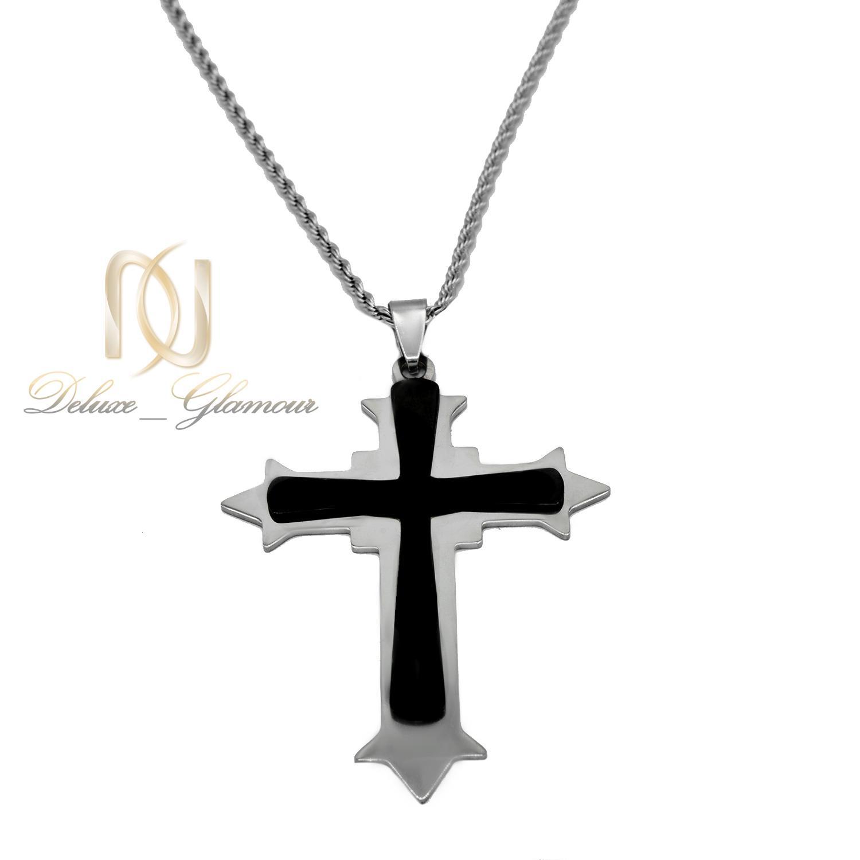 گردنبند مردانه طرح صلیب استیل اسپرت nw-n504 از نمای روبرو
