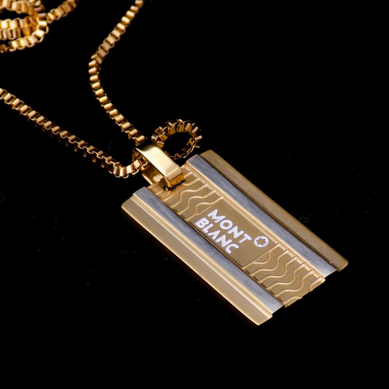 گردنبند مردانه مونت بلانک استیل طلایی nw-n500 از نمای مشکی