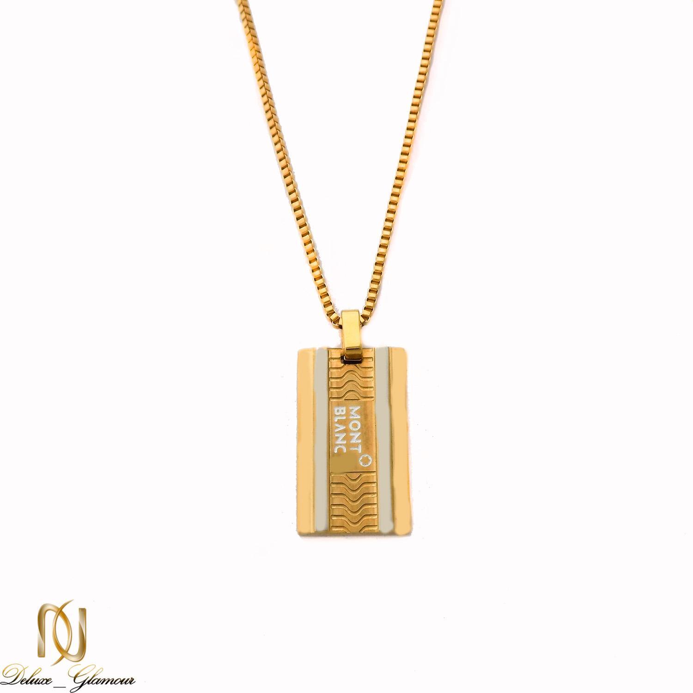 گردنبند مردانه مونت بلانک استیل طلایی nw-n500 از نمای سفید