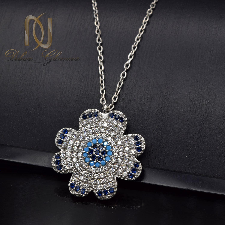 گردنبند نقره دخترانه جواهری طرح برف nw-n517 از نمای مشکی
