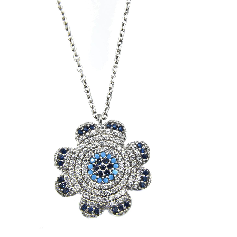 گردنبند نقره دخترانه جواهری طرح برف nw-n517 از نمای سفید