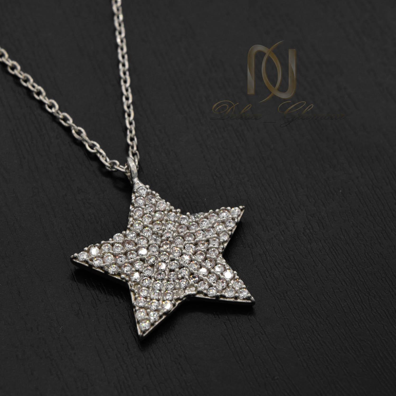 گردنبند نقره دخترانه طرح ستاره نگین دار nw-n508 از نمای مشکی