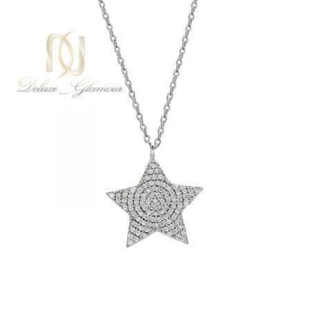 گردنبند نقره دخترانه طرح ستاره نگین دار nw-n508 از نمای سفید