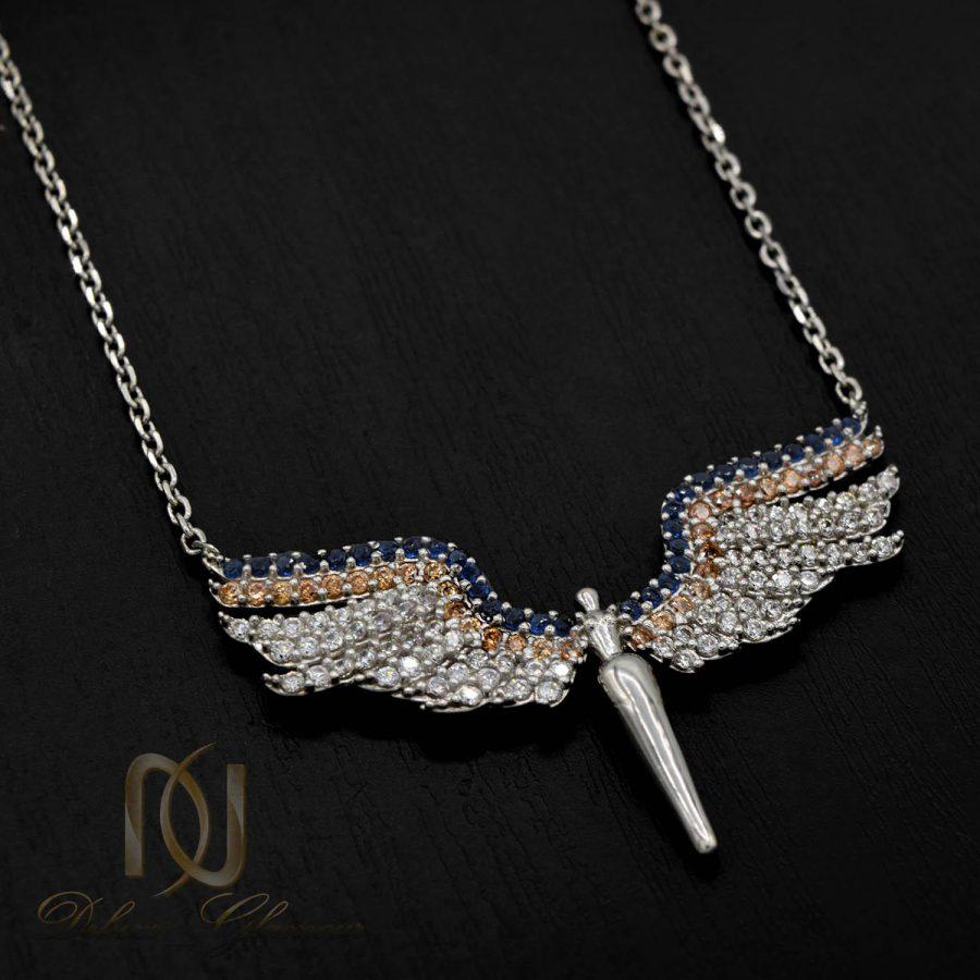 گردنبند نقره دخترانه طرح فرشته نگین دار nw-n507 از نمای مشکی