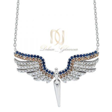 گردنبند نقره دخترانه طرح فرشته نگین دار nw-n507 از نمای سفید