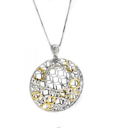 گردنبند نقره زنانه توری طرح طلای دو رنگ nw-n501