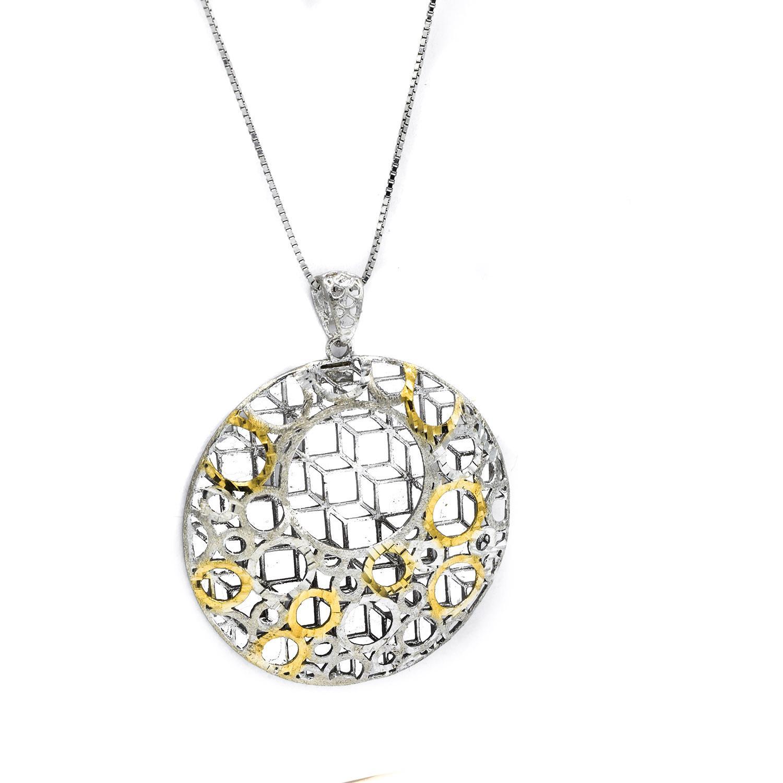 گردنبند نقره زنانه توری طرح طلای دو رنگ nw-n501 از نمای سفید