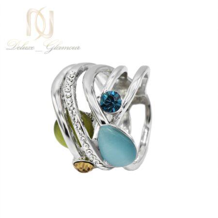 انگشتر زنانه جواهری نگین سواروسکی و اپال rg-n412 از نمای سفید