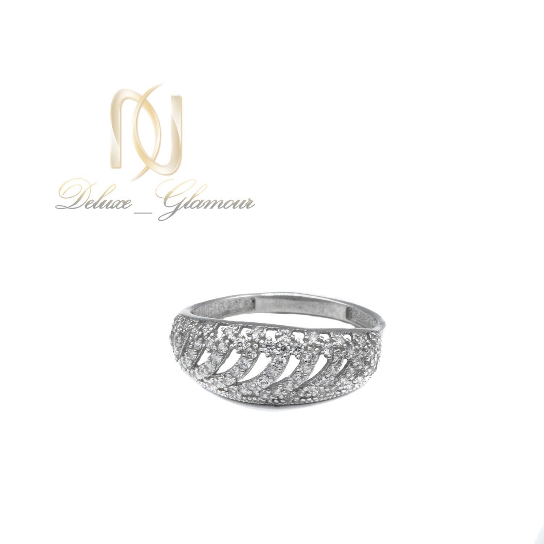 انگشتر نقره زنانه ظریف پرنگین طرح طلا rg-n418 از نمای پایین