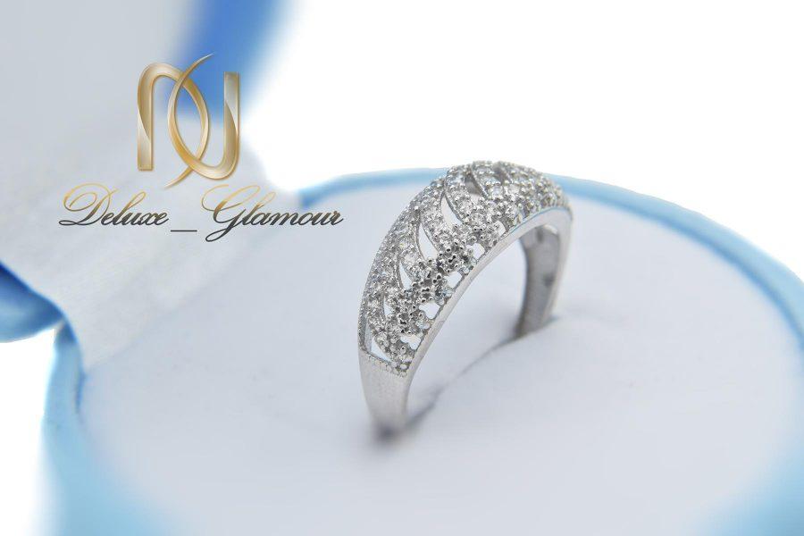 انگشتر نقره زنانه ظریف پرنگین طرح طلا rg-n418 از نمای روبرو
