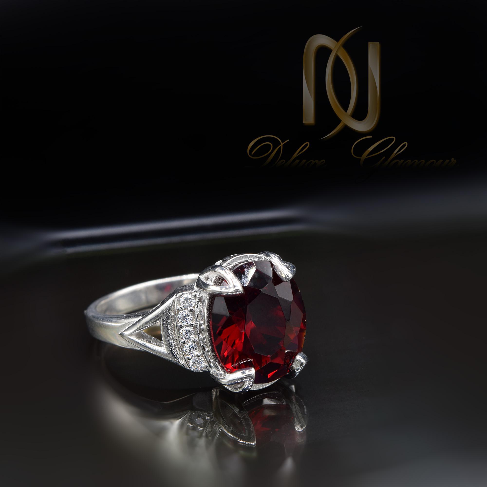 انگشتر نقره زنانه نگین سرخ طرح طلا RG-N401 از نمای مشکی