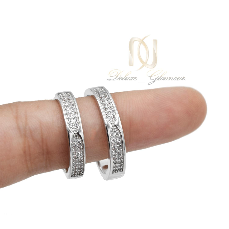 حلقه ست نامزدی نقره طرح طلا سفید rg-n406 از نمای روی دست