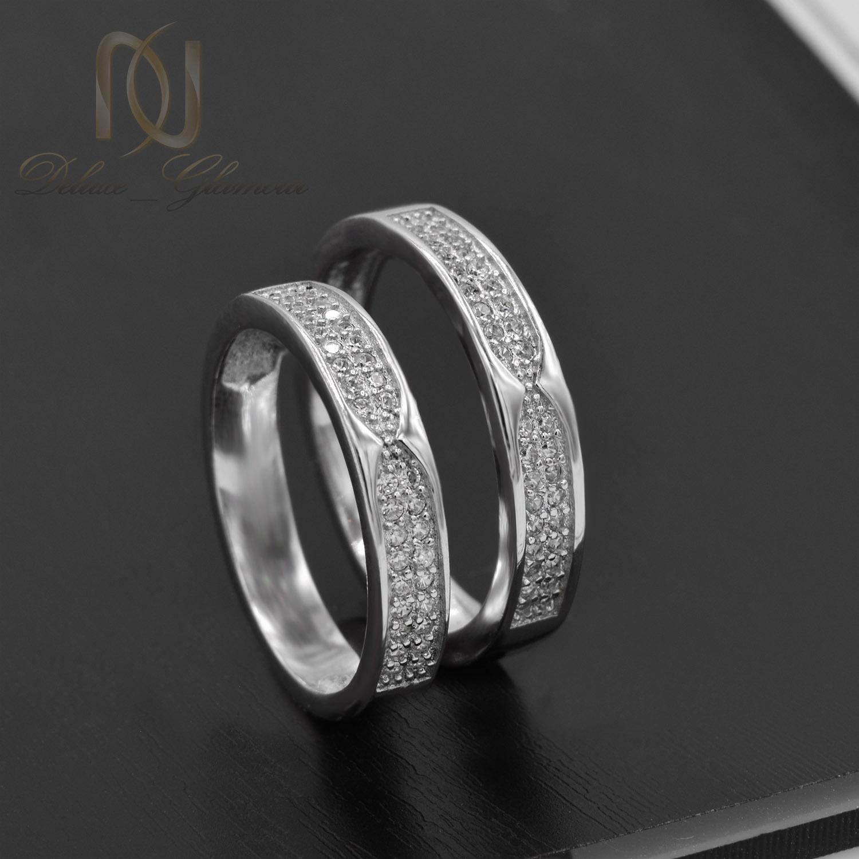 حلقه ست نامزدی نقره طرح طلا سفید rg-n406 از نمای مشکی