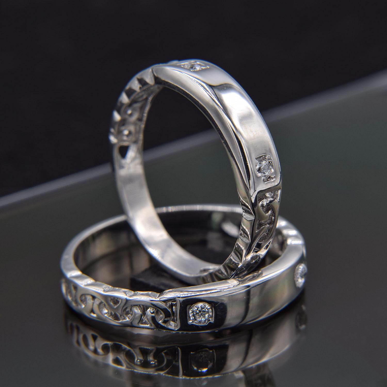 حلقه ست نقره ازدواج طرح طلا سفید نگین دار rg-n417 از نمای مشکی