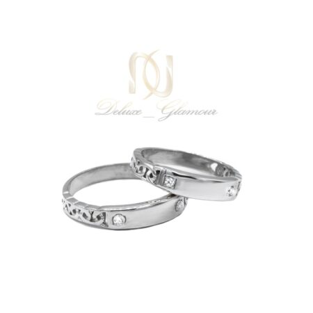 حلقه ست نقره ازدواج طرح طلا سفید نگین دار rg-n417 از نمای سفید