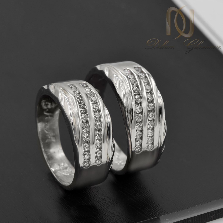 حلقه ست نقره ازدواج طرح طلا سفید rg-n405 از نمای مشکی