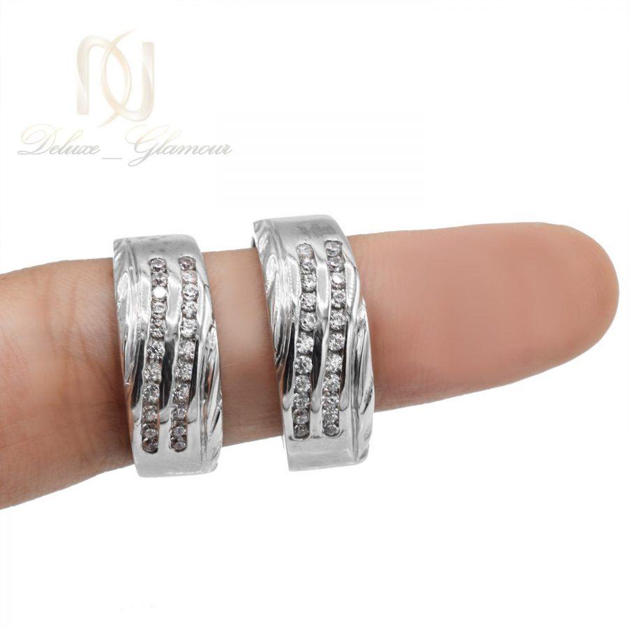 حلقه ست نقره ازدواج طرح طلا سفید rg-n405 از نمای روبرو