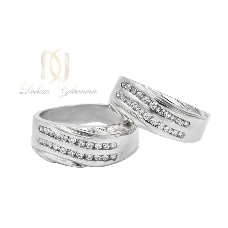 حلقه ست نقره ازدواج طرح طلا سفید rg-n405 از نمای سفید
