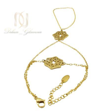 دستبند تمیمه زنانه استیل طلایی جدید ds-n495 از نمای سفید